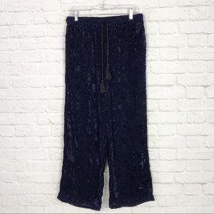 Earthbound Trading Blue Crushed Velvet Comfy Pants